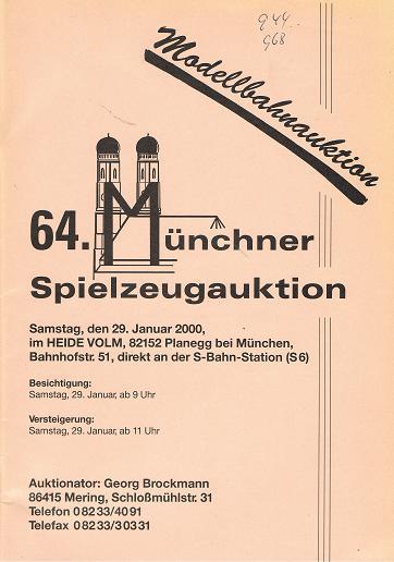64. MÜNCHENER SPIELZEUGAUKTION