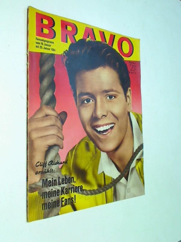 BRAVO Nr. 3/1964  Mario Adorf, Cliff Richard - Cover, Robert Fuller- Starschnitt. Jugendzeitschrift Die Zeitschrift für Film und Fernsehen .