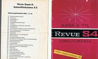 Revue Super - 8 - Schmalfilmkamera S 4, Gebrauchsanleitung.