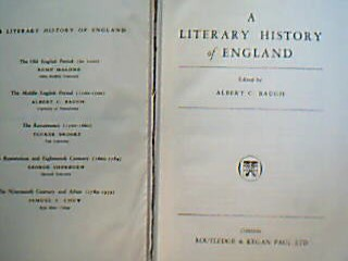 A Literary History of England. ( Book I : Kemp Malone, The Old English Period [to 1100]; Book II : Albert C. Baugh, The Middle English Period [1100-1500]; Book III : Tucker Brooke, The Renaissance [1500-1600]; Book IV : Samuel C. Chew, The Ninetheenth Century and After [1789-1939] ). 4 books in 1 vol.
