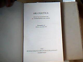 Ars Poetica. Texte von Dichtern des 20. Jahrhunderts zur Poetik. 1. Auflage