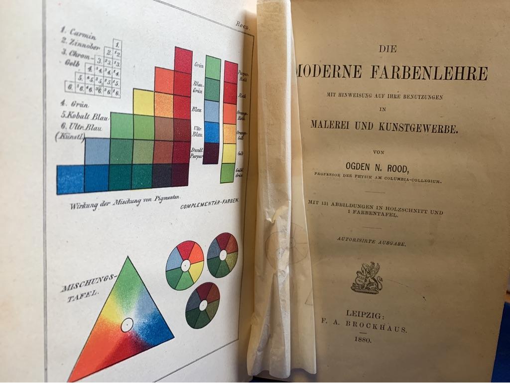 Die moderne Farbenlehre mit Hinweisung auf ihre Benutzung in Malerei und Kunstgewerbe. (=Internationale Wissneschaftliche Bibliothek XLI. Band)