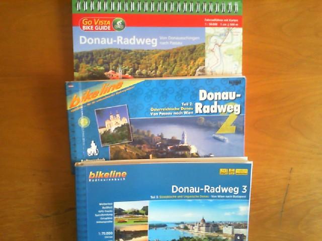 Donau-Radweg. Teil 1: Von Donaueschingen nach Passau. Teil 2: Von Passau nach Wien. Teil 3: Von Wien nach Budapest. Zusammen 3 Fahrradführer. Radtourenbücher und Karten 1:50000 bzw. 1:75000.