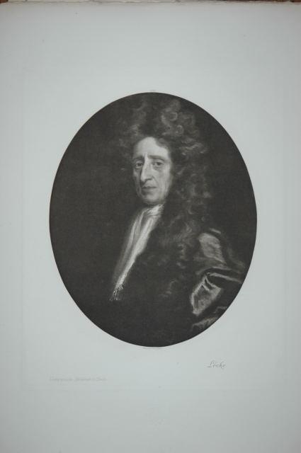 John Locke 1632-1704, englischer Philosoph und einflußreicher Vertreter der Aufklärung). Porträt in Halbfigur nach einem Gemälde von Brownover. Originale Photogravüre (Heliogravüre).