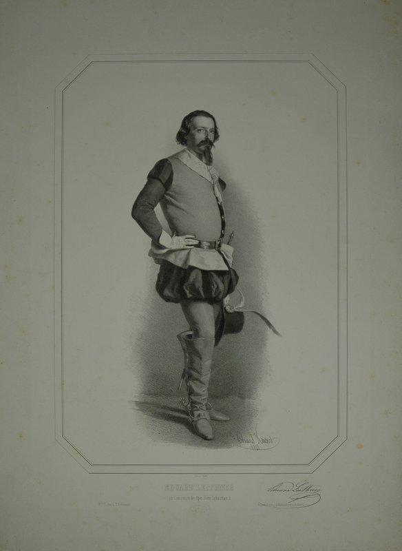 Porträt. Ganzfigur stehend nach halbrechts. Rollenbildnis als Camoens in der Oper Dom Sebastian. Lithographie in achteckiger Umrahmung von Eduard Kaiser.