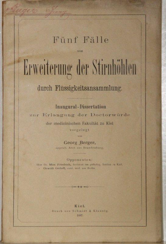 Fünf Fälle von Erweiterung der Stirnhöhlen durch Flüssigkeitsansammlung. Inaug-Dissertation.