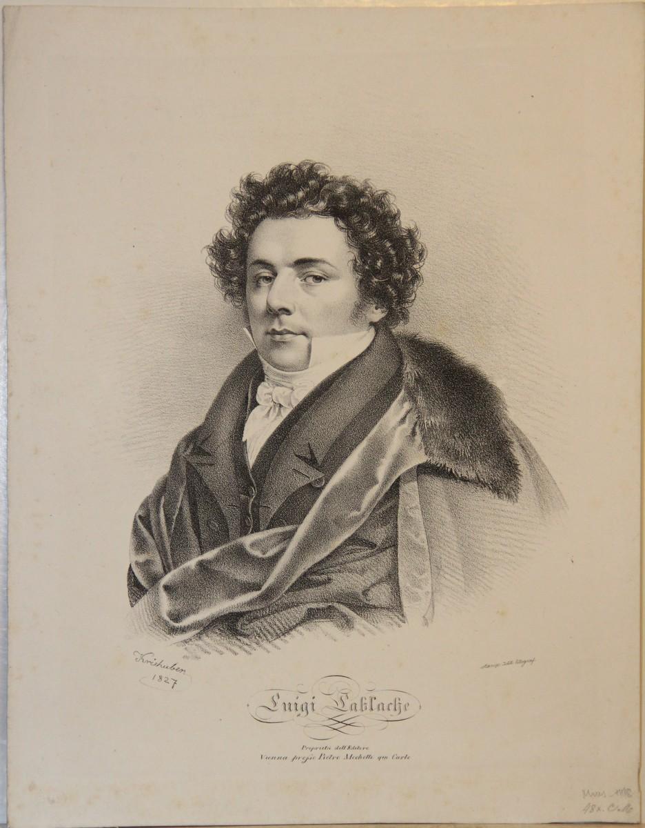 Porträt. Brustfigur nach halblinks, unten mit Bezeichnung. Lithographie von Kriehuber.
