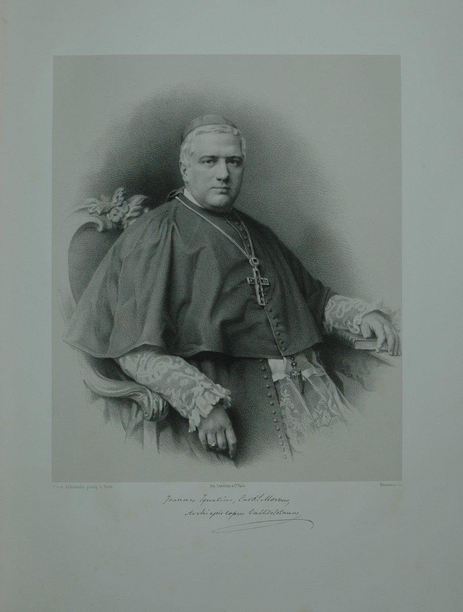 Portrait. Halbfigur in Kardinalstracht. Lithographie auf Chinapapier von Lemoine.