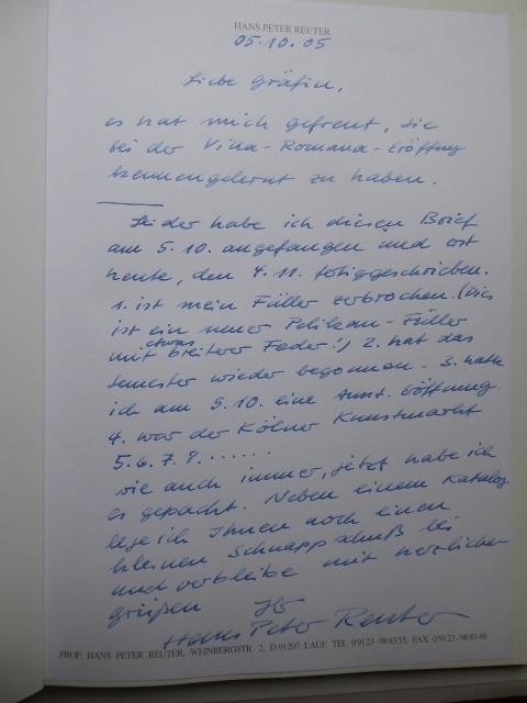 """Hans Peter Reuter - Bilder 1972-2002. Kunsthalle Tübingen 20. Juli bis 8. September 2002. Vorne eingheftet ein ganzseitiger, handschriftlicher Brief an (eine) """"Liebe Gräfin""""."""
