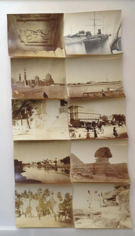 10 Original Fotos: 1. Ein Kalifengrab bei Kairo; 2. Im Suez Kanal; 3. Rang von 1904 Jule Pagade; 4. Rangan von 1904 Shwe Dagon Pagade; 5. Jaipuk; 6. Elvora Caves; 7. Palast der Khedive  am Nil in Cairo; 8. Am Nil bei Cairo; 9. Die Spinkx; 10. Hr. Schumach