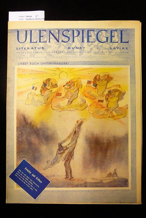 Ulenspiegel - Satirezeitschrift  Jahrgang 1, Nr. 26, 1. Dezemberheft 1946. Literatur - Kunst - Satire.