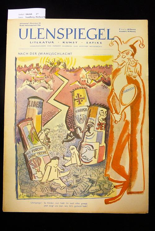 Ulenspiegel - Satirezeitschrift  Jahrgang 1, Nr. 23, 1.  Novemberheft 1946. Literatur - Kunst - Satire.