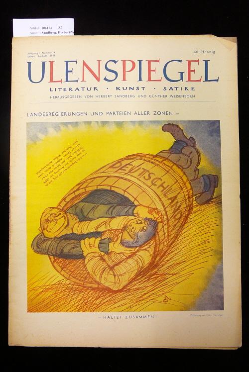 Ulenspiegel - Satirezeitschrift  Jahrgang 1, Nr. 14, 3. Juniheft 1946. Literatur - Kunst - Satire.