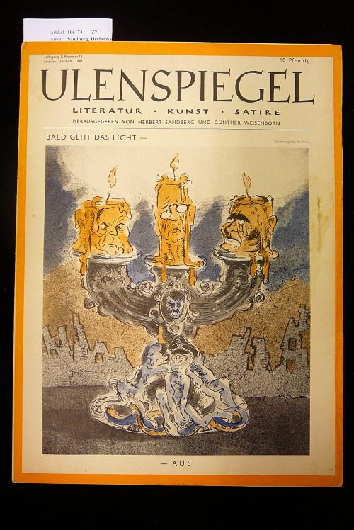 Ulenspiegel - Satirezeitschrift  Jahrgang 1, Nr. 13, 2. Juniheft 1946. Literatur - Kunst - Satire.