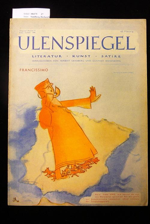 Ulenspiegel - Satirezeitschrift  Jahrgang 1, Nr. 12, 1. Juniheft 1946. Literatur - Kunst - Satire.