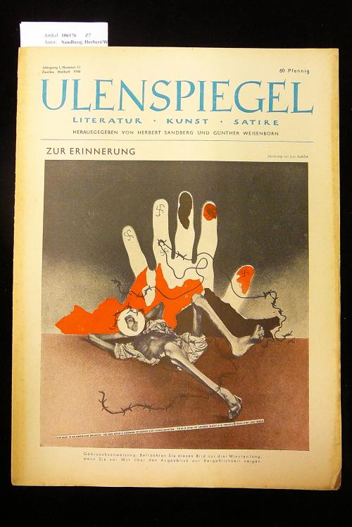 Ulenspiegel - Satirezeitschrift  Jahrgang 1, Nr. 11, 2. Maiheft 1946. Literatur - Kunst - Satire.