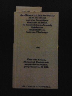 Enzensberger, Magnus. Das Wasserzeichen der Poesie oder die Kunst und das Vergnügen, Gedichte zu lesen, 9. Band. In Hundertvierundsechzig Spielarten vorgestellt von Andreas Thalmayr. 21.-30. Tsd.