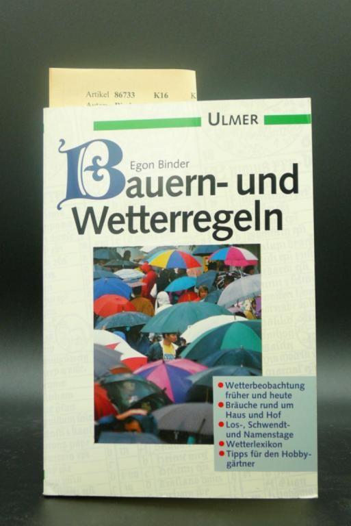 Binder, Egon. Bauern-und Wetterregeln. 55 Kupfer-und Holzschnitte.
