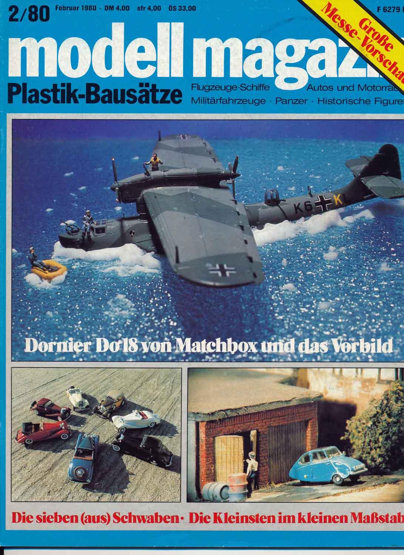 modell magazin. Plastik-Bausätze. Flugzeuge-Schiffe - Autos und Motorräder - Militärfahrzeuge - Panzer - Historische Figuren. hier: Heft 2/1980.