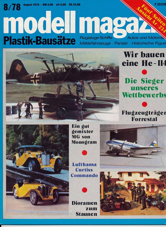 modell magazin. Plastik-Bausätze. Flugzeuge-Schiffe - Autos und Motorräder - Militärfahrzeuge - Panzer - Historische Figuren. hier: Heft 8/1978.