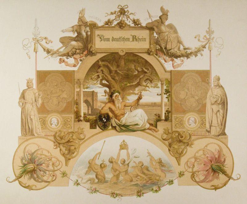 """""""Vom deutschen Rhein"""". Titelblatt des prächtigen Tafelwerks mit Rhenus im Zentrum, umgeben von Figuren aus der Mythologie und der Geschichte."""