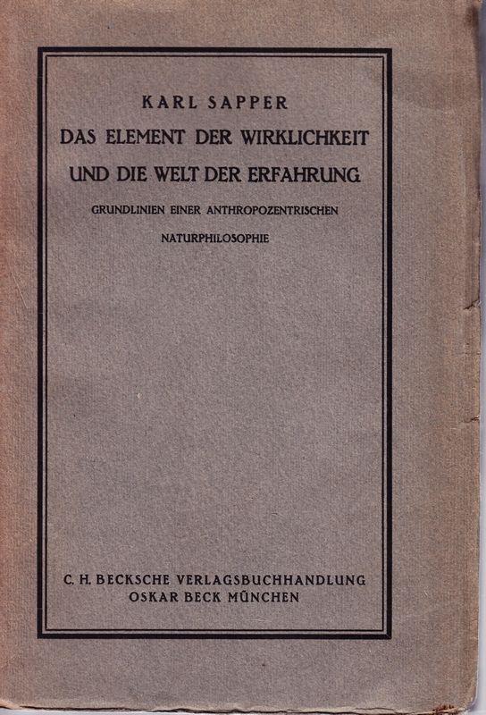 Das Element der Wirklichkeit und die Welt der Erfahrung. Grundlinien e. anthropozentrischen Naturphilosophie.