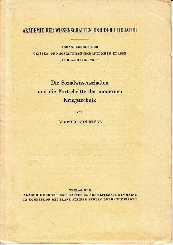 Die Sozialwissenschaften und die Fortschritte der modernen Kriegstechnik.
