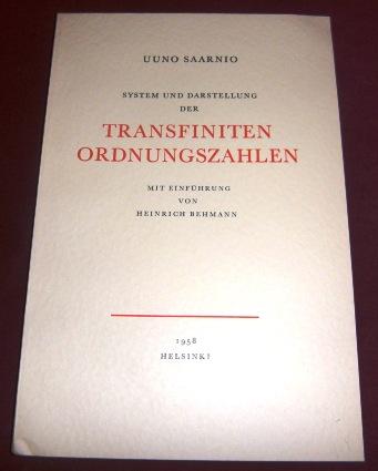 Uuno Saarnio, Einführung Heinrich Behmann System Und Darstellung Der Transfiniten Ordnungszahlen