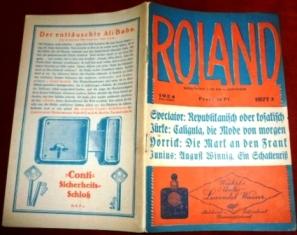 Redaktion D. Wittner. Roland. Gesellschaft. Kunst. Börse. Film. Heft 3, Den 17. Januar 1924. XXII. Jahrg.