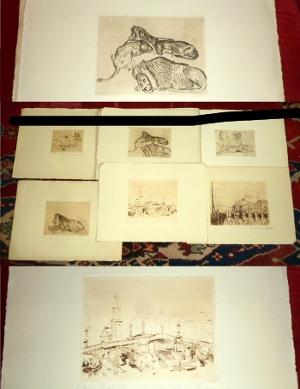 Walter Roy Mappe: Folge Von 12 Original-Radierungen Von Walter Roy, Signiert Und Nummeriert.