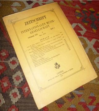 Zeitschrift der Internationalen Musikgesellschaft. Dreizehnter Jahrgang (Jahrgang XIII), Heft 8, Mai 1912.