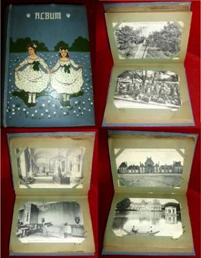 Unikat: Jugendstil-Postkartenalbum: Versailles, Fontainebleau, Paris.