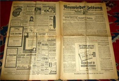 Neuwieder Zeitung. General-Anzeiger für den Westerwald und Mittelrhein. Rheinischer Bote. Nr. 74. Freitag, den 27. März 1936.