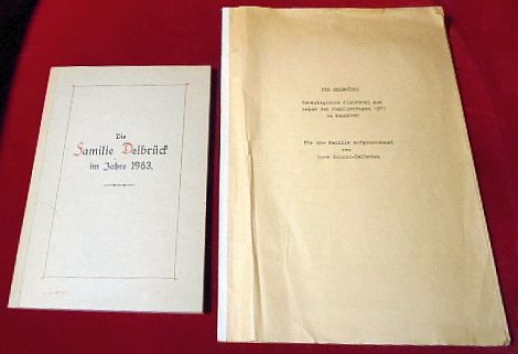Konvolut: Die Familie Delbrück Im Jahre 1983 + Die Delbrücks, Genealogische Plauderei aus Anlaß Des Familientages 1971 in Hannover, Für Die Familie Aufgezeichnet Von Lore Schmid- Delbrück.