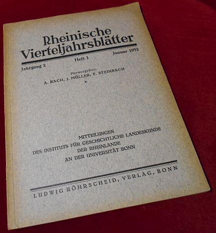 Rheinische Vierteljahrsblätter. Jahrgang 2, Heft 1, Januar 1932