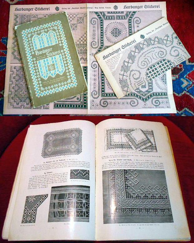 Hardanger Stickerei , mit 110 Abbildungen und 2 doppelseitigen Musterbogen.