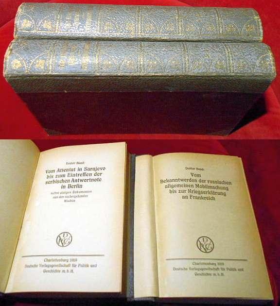 Die Deutschen Dokumente zum Kriegsausbruch, 4 Bände mit Anhang in 2 Büchern.