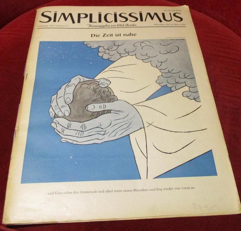 Herausgegeben von Olaf Iversen Simplicissismus. München 15. März 1958. Nummer 11. Die Zeit ist nahe.