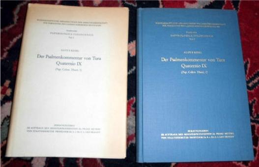 Aloys Kehl, herausgegeben im Auftrage des Ministeripräsidenten Dr. Franz Meyers von Staatssekretär Professor Dr. h. e. Dr. E. h. Leo Brandt. Der Psalmenkommentar von Tura, Quaternio IX (Pap. Colon. Theol.1).
